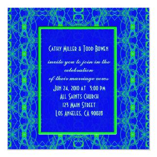 Bright blue Lime Green Pattern Wedding 13 Cm X 13 Cm Square Invitation Card