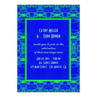 "Bright blue Lime Green Pattern Wedding 5"" X 7"" Invitation Card"