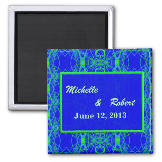 Bright blue Lime Green Pattern Wedding Refrigerator Magnet