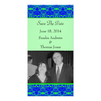 Bright blue Lime Green Pattern Wedding Picture Card