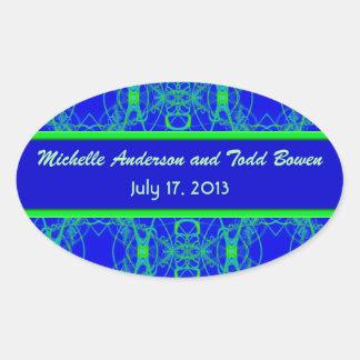 Bright blue Lime Green Pattern Wedding Sticker