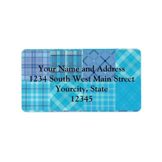 Bright Blue Madras Plaid Address Label