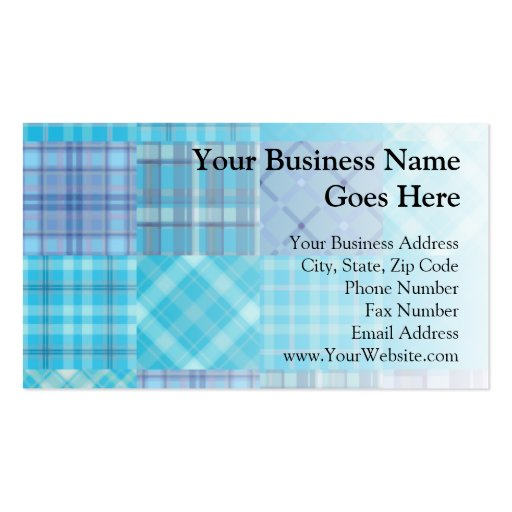 Bright Blue Madras Plaid Business Card Templates