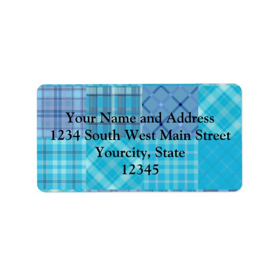 Bright Blue Madras Plaid Label