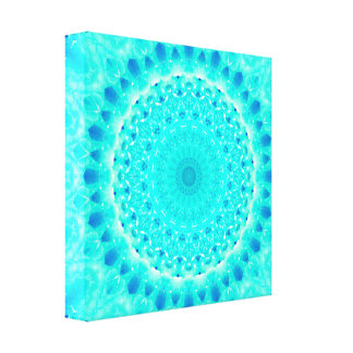Bright Blue Mandala Canvas Print