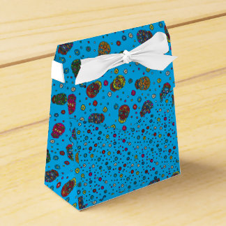 Bright blue mexican floral skull pattern party favour boxes