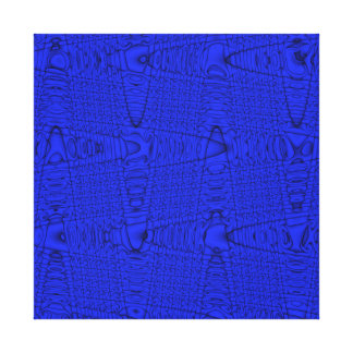 Bright Blue Modern Geometric Abstract Wave Pattern Gallery Wrap Canvas