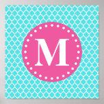 Bright Blue Moroccan Lattice Pink Monogram