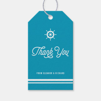 Bright Blue Nautical Thank You Script with Helm Gift Tags