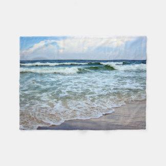 Bright Blue Ocean Waves Fleece Blanket