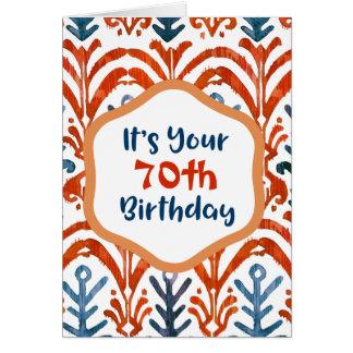 Bright Blue Orange Tribal Ikat 70th Birthday Card