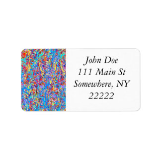 Bright Blue Paint Splatter Abstract Address Label