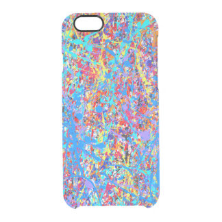 Bright Blue Paint Splatter Abstract Clear iPhone 6/6S Case