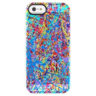 Bright Blue Paint Splatter Abstract Clear iPhone SE/5/5s Case