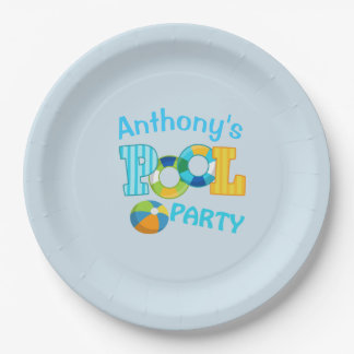 Bright Blue  Personalized Pool Party Paper Plates