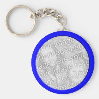 bright blue  photo frame key ring