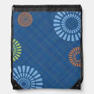 Bright Blue Plaid Orange Drawstring Backpack