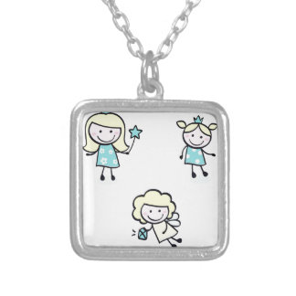 Bright blue princess collection silver plated necklace
