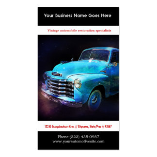 Bright Blue Restored Vintage Auto Photo Pack Of Standard Business Cards