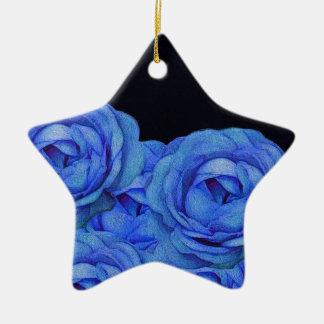 Bright Blue Roses Black Background Ceramic Star Decoration