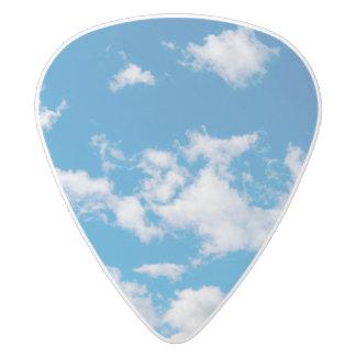 Bright Blue Sky White Delrin Guitar Pick