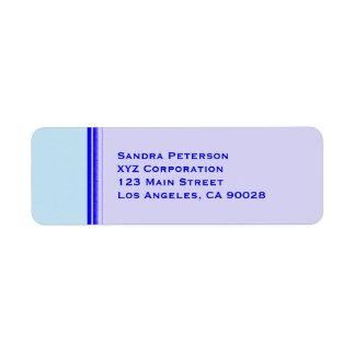 Bright blue stripe on pastel professional business return address label