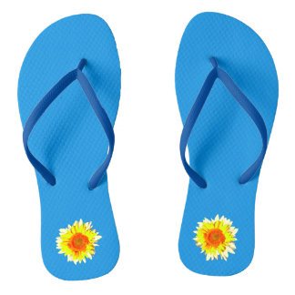 Bright Blue Sunflower on Thongs