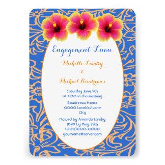 Bright Blue Tropical Hibiscus Custom Invite