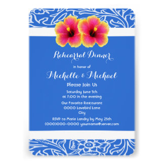 Bright Blue Tropical Hibiscus Wedding Card