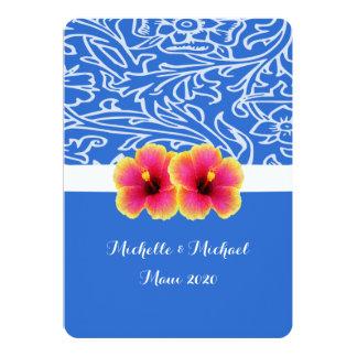 Bright Blue Tropical Hibiscus Wedding Card