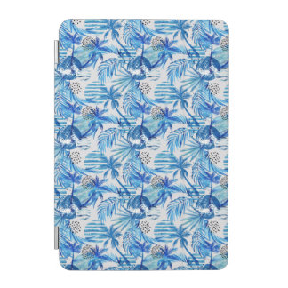 Bright Blue Tropical Watercolor Pattern iPad Mini Cover