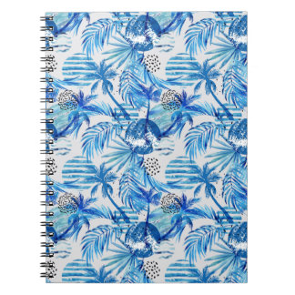 Bright Blue Tropical Watercolor Pattern Notebooks