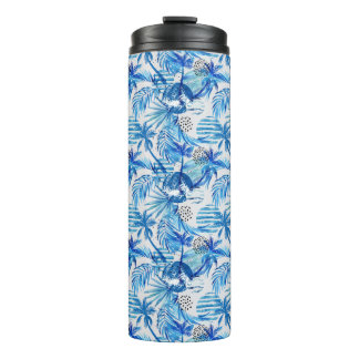 Bright Blue Tropical Watercolor Pattern Thermal Tumbler