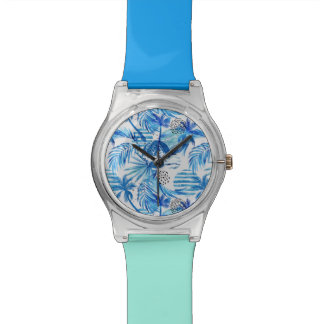 Bright Blue Tropical Watercolor Pattern Watch
