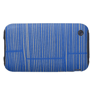 Bright Blue Unique Modern Stripe Pattern Cool Tough iPhone 3 Covers