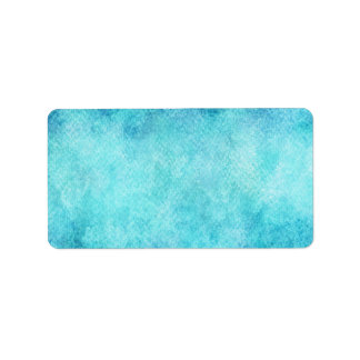 Bright Blue Watercolor Personalized Background Address Label