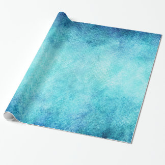 Bright Blue Watercolor Personalized Background Wrapping Paper