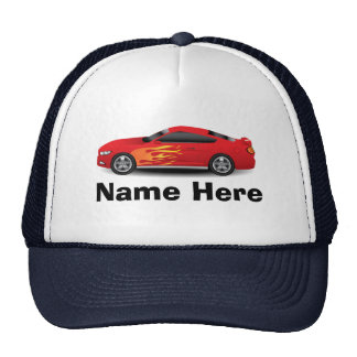 Bright Blue with Red Sports Car Flames Boys Cap