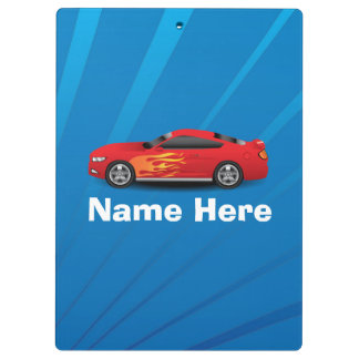 Bright Blue with Red Sports Car Flames Kids Boys Clipboards