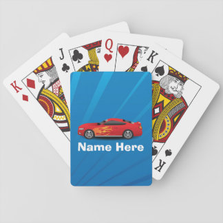 Bright Blue with Red Sports Car Flames Kids Boys Playing Cards
