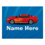 Bright Blue with Red Sports Car Flames Kids Boys Print