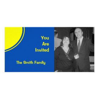 Bright Blue Yellow Mod Party Invite Personalised Photo Card