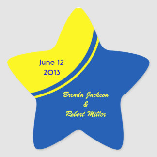 Bright Blue Yellow Modern Circle Wedding Star Sticker