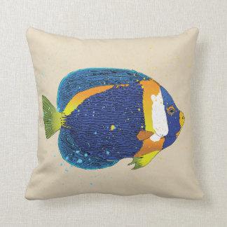 Bright Blue Yellow Tropical Angelfish Illustration Cushion