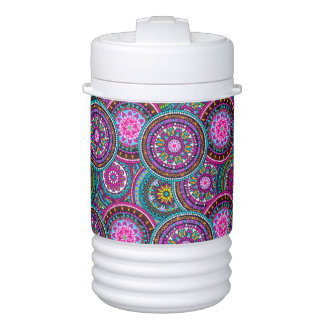 Bright Bohemian Boho Hippy Chic Pattern Drinks Cooler