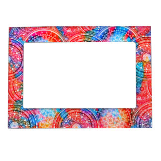 Bright Bohemian Boho Hippy Chic Pattern Magnetic Frame