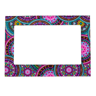 Bright Bohemian Boho Hippy Chic Pattern Magnetic Picture Frame