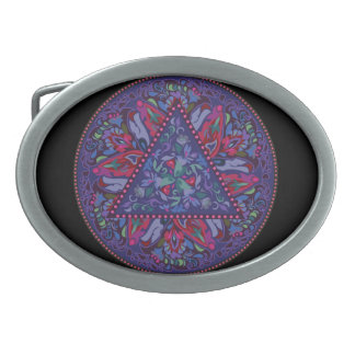 Bright Bohemian Boho Hippy Chic Pattern Oval Belt Buckle