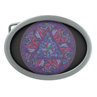 Bright Bohemian Boho Hippy Chic Pattern Oval Belt Buckles