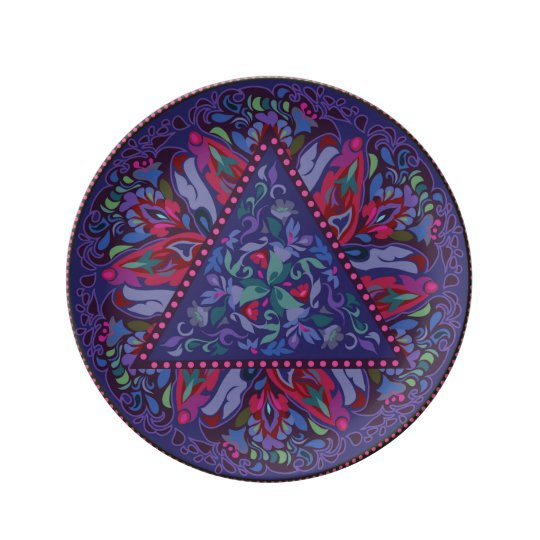Bright Bohemian Boho Hippy Chic Pattern Plate